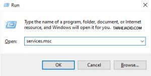 windows services msc غیر فعال کردن آپدیت ویندوز ۱۰ Win+R
